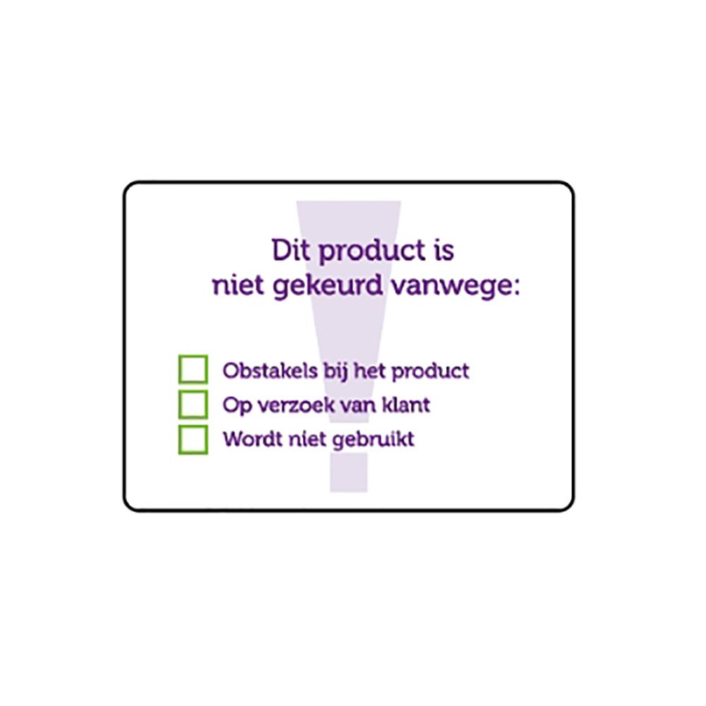 Sticker product niet gekeurd