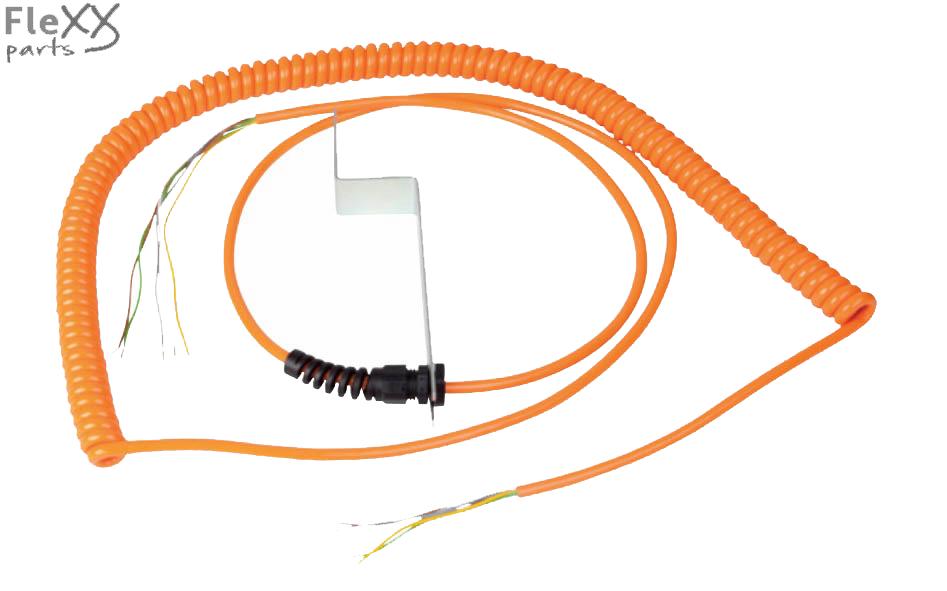 Spiraalkabel oranje XL (1200 mm) incl. beugel