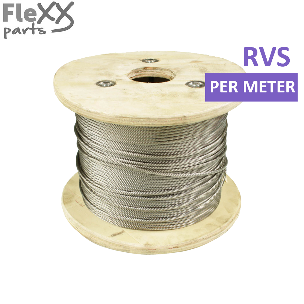 Staalkabel RVS, 4 mm, per meter
